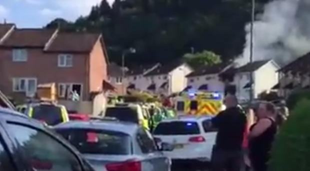 The aftermath of an explosion at a house near Caerphilly (PA)