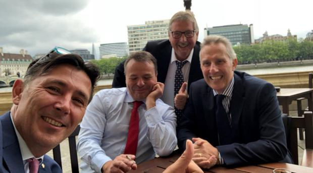 A picture posted by Ian Paisley (right) of Arron Banks (second left), Sammy Wilson (second right) and Leave.EU campaigner Andy Wigmore