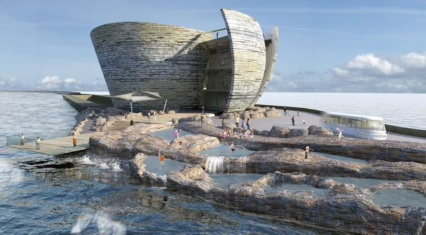 How the tidal lagoon power plant may look in Swansea Bay (Tidal Lagoon Power/PA)