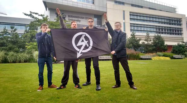 Garry Jack, left, Chad Williams-Allen, second left, and two other men who cannot be named were sentenced for posting racist stickers at a university campus. (West Midlands Police/PA)