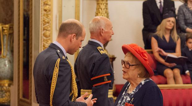 Lady Antonia Fraser is made a Companion of Honour by the Duke of Cambridge (Dominic Lipinski/PA)