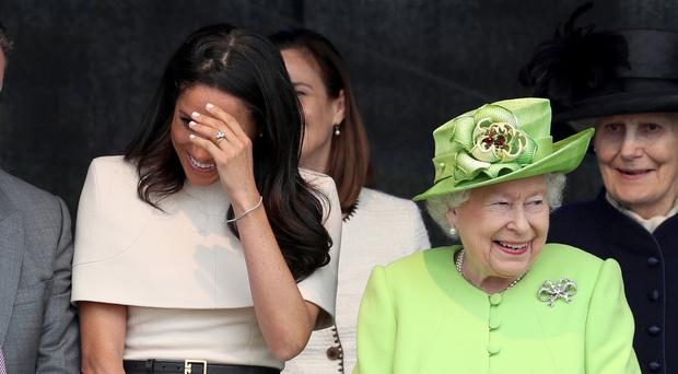 The Duchess of Sussex and the Queen at the opening of the new Mersey Gateway Bridge, in Widnes (Danny Lawson/PA)