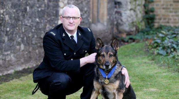 Police dog Finn, who was brutally stabbed in the line of duty, with his handler Pc Dave Wardell (Jonathan Brady/PA)