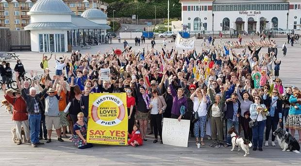 Protesters gathered on Hastings Pier (Allyson Breeds/PA)