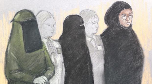 Court artist sketch of Mina Dich, Rizlaine Boular and Khawla Barghouthi, who will be sentenced at the Old Bailey (Elizabeth Cook/PA)