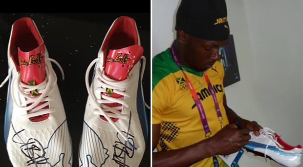 The signed running shoes and Usain Bolt signing the spikes. (Derbyshire Police/PA)