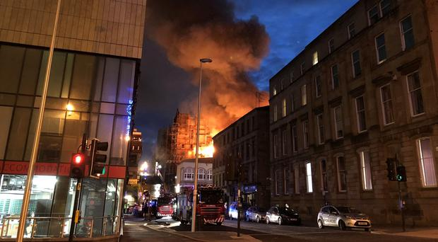 The scene in Glasgow after a fire at the Mackintosh Building (Douglas Barrie/PA)