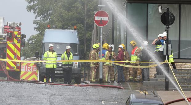First Minister Nicola Sturgeon spoke with firefighters at the scene (Andrew Milligan/PA)