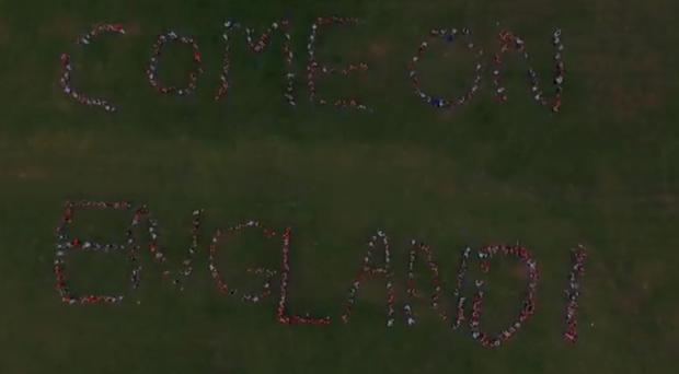 The children of Acklam Whin Primary School spell out their message to the England squad (Acklam Whin Primary)
