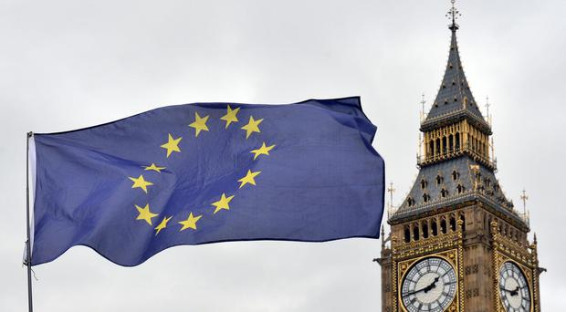 A European Union flag flying in front of the Palace of Westminster (Victoria Jones/PA)