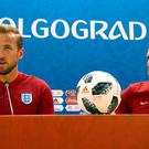 England's Harry Kane (left) and England Manager Gareth Southgate during the press conference at the Volgograd Arena (Aaron Chown/PA)