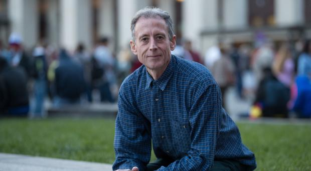 Gay rights campaigner Peter Tatchell in Manezhnaya Square, Moscow (Aaron Chown/PA)