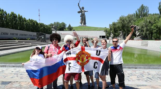 Fans in front of the Mamayev Kurgan in Volgograd (Owen Humphreys/PA)