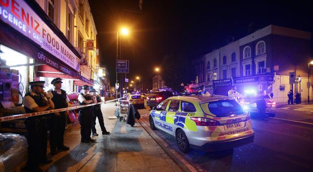 Emergency services were called to the junction of Seven Sisters Road and Whadcoat Street, London after Darren Osborne rammed into Muslim worshippers leaving two mosques (Yui Mok/PA)
