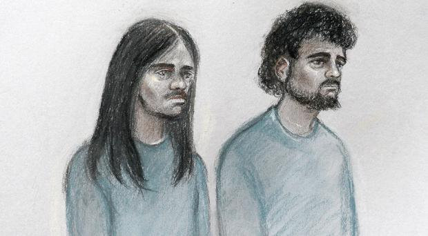 Court artist sketch of Naa'imur Zakariyah Rahman (left) in the dock at Westminster Magistrates' Court (Elizabeth Cook/PA)