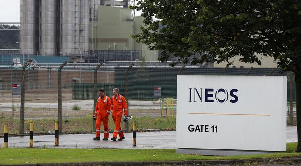 Workers at the Ineos Grangemouth petrochemicals complex (Andrew Milligan/PA)