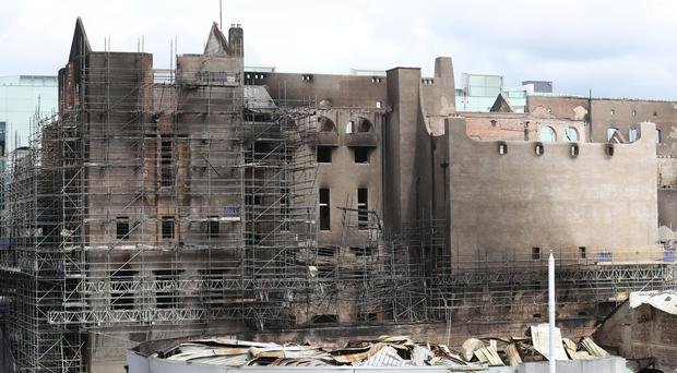 Exterior view of the fire damage at the Glasgow School of Art (Andrew Milligan/PA)