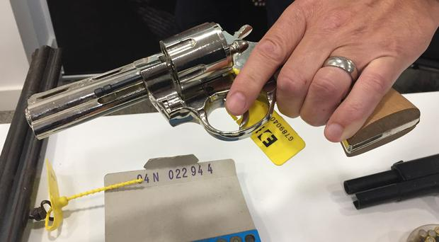 A blank-firing replica of a silver Colt Python revolver handed in during a recent West Midlands Police firearms surrender (Richard Vernalls/PA)
