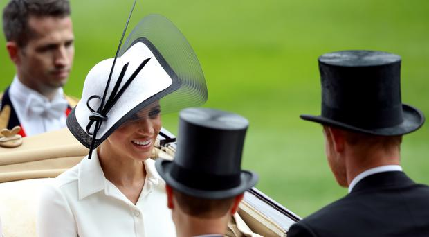 The Duchess of Sussex during day one of Royal Ascot at Ascot Racecourse (John Walton/PA)