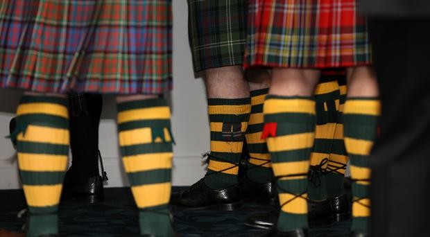 Guests in traditional kilts during the Scottish Rugby Union Club Awards (Lynne Cameron/PA)