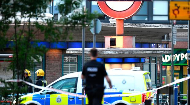 Police at Southgate Tube station in north London last night
