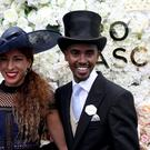 Sir Mohammed Farah and wife Tania Nell on day two of Royal Ascot at Ascot Racecourse (Steve Parsons/PA)