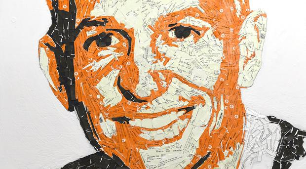 A portrait of BBC football presenter Gary Lineker has been created from used train tickets (East Midlands Trains/PA)
