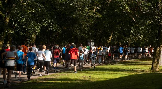 "Participants in a parkrun around Hyde Park in Leeds as the Royal College of General Practitioners and parkrun UK launch an initiative that could see thousands of patients ""prescribed"" outdoor physical activity rather than medication."
