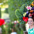 A racegoer wearing a floral hat during day three of Royal Ascot(Steve Parsons/PA)