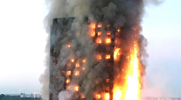 The Grenfell Tower fire raging (Natalie Oxford/PA)