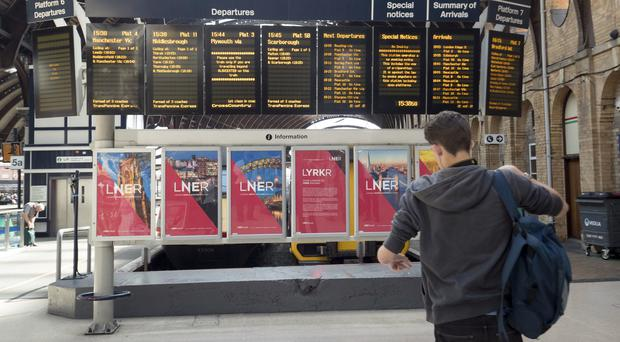 London North Eastern Railway posters are appearing at train stations (Danny Lawson/PA)