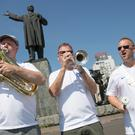 (left to right) Steve Wood 54, John Hemmingham 55 and Steve Homes 47 of the England Band (Aaron Chown/PA)