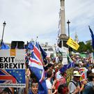 Crowds taking part in the People's Vote march for a second EU referendum at Trafalgar Square in central London (John Stillwell/PA)