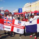 England and Panama fans in Nizhny Novgorod ahead of the match on Sunday (Scott D'Arcy/PA)