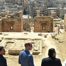The Duke of Cambridge (centre) and Crown Prince Hussein of Jordan (left) during a visit to the Jerash archaeological site (Joe Giddens/PA)