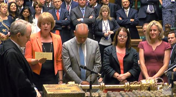 The result in the House of Commons, London as MPs have supported the Heathrow Airport expansion by 415 votes to 119, majority 296 (PA)