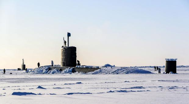 Royal Navy submarine HMS Trenchant after it broke through the ice of the North Pole (PO Arron Hoare/MoD/PA)