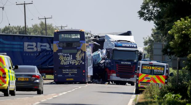 A bus and lorry collided in Cambridgeshire (Chris Radburn/PA)