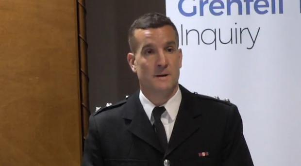 Michael Dowden was the first London Fire Brigade incident commander on the scene at Grenfell Tower on the night of the fire (Grenfell Tower Inquiry/PA)