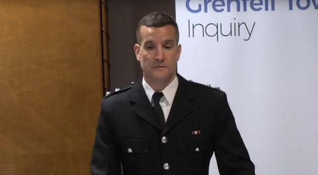 Michael Dowden was the first London Fire Brigade incident commander on the scene at Grenfell Tower (Grenfell Tower Inquiry/PA)