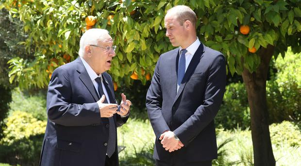 William during his audience with Israeli President Reuven Rivlin at his official residence in Jerusalem (Chris Jackson/PA)