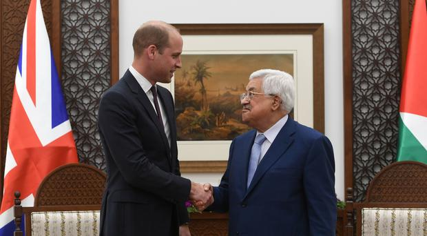 The Duke of Cambridge meets Palestinian Authority President Mahmoud Abbas in the Office of the President, in Ramallah (Joe Giddens/PA)