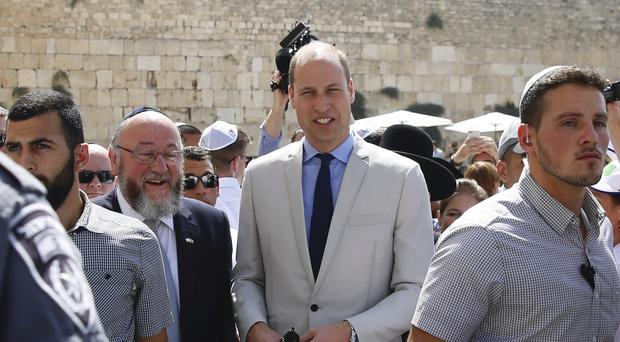 The Duke of Cambridge visits the Western Wall in Jerusalem (Ariel Schalit/AP)