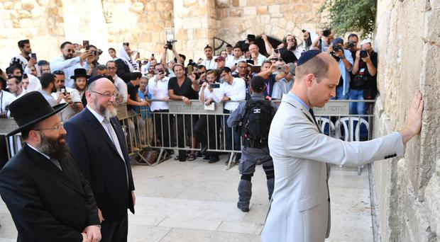 The Duke of Cambridge during a visit to the Western Wall (PA)