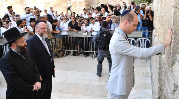 The Duke of Cambridge during a visit to the Western Wall (Tim Rooke/PA)