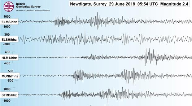 Handout illustration issued by the British Geological Survey (BGS) of the seismogram from Surrey's second earthquake in a week (BGS/PA)