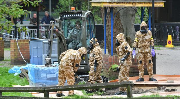 Military personnel at the site near the Maltings in Salisbury where Russian double agent Sergei Skripal and his daughter Yulia were found (Ben Birchall/PA)