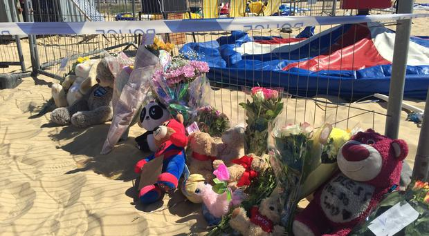 Tributes have been left to a little girl who died after she was thrown from an inflatable trampoline in Gorleston, Norfolk (Sam Russell/PA)