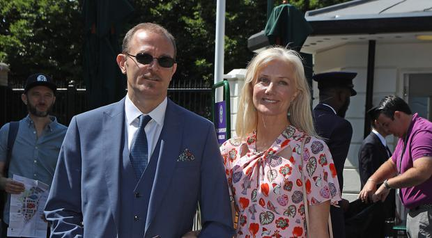 Joely Richardson and Carlo Nero arrive on day two of the Wimbledon Championships (Philip Toscano/PA)