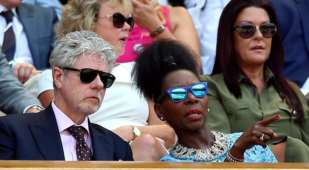 Floella Benjamin and Keith Taylor in the royal box on centre court (Nigel French/PA)